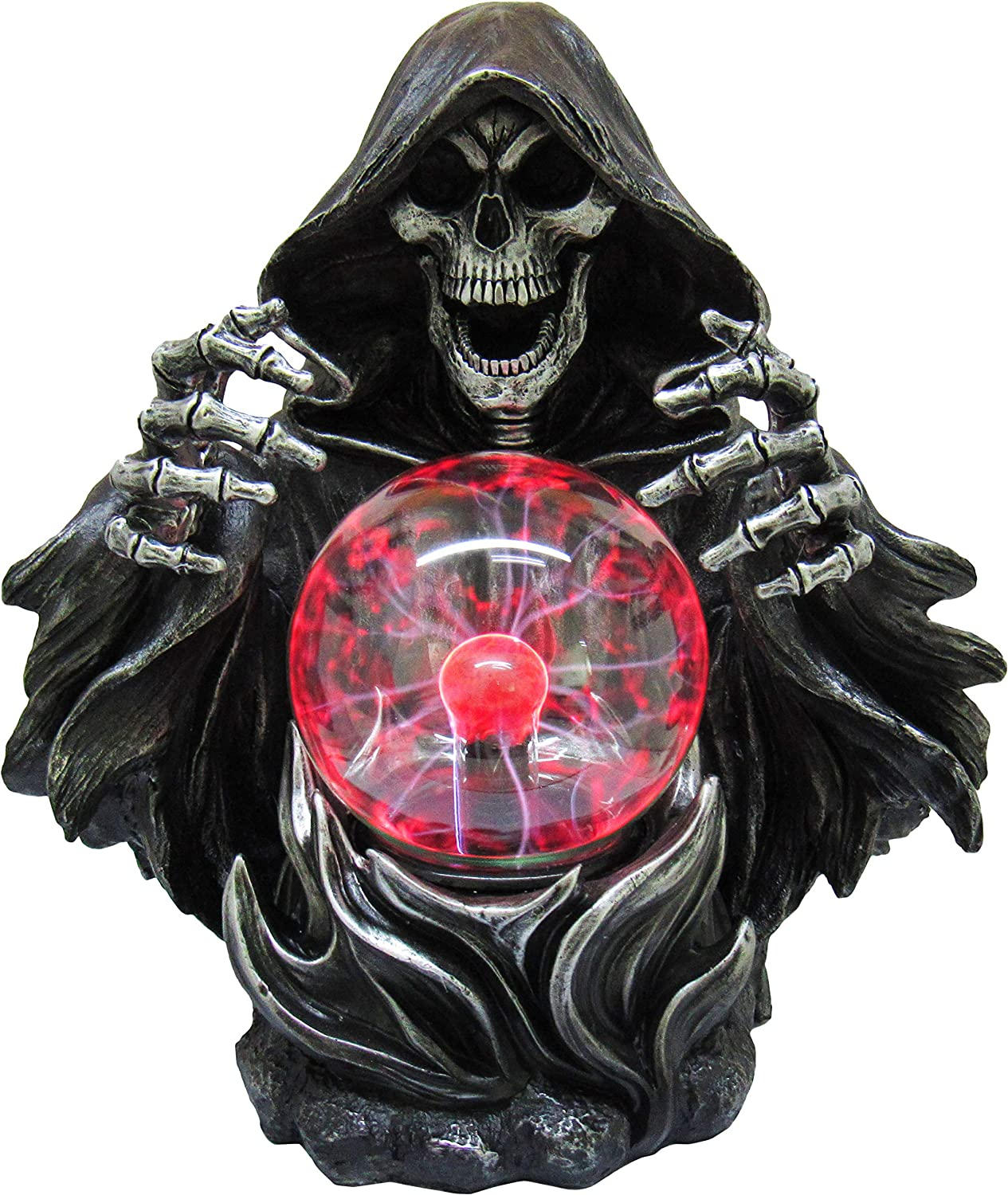 DWK - Sinister Scryer - Grim Reaper Death Gothic Skeleton Statue with Plasma Tesla Ball Lamp for Home and Office, 11-inch