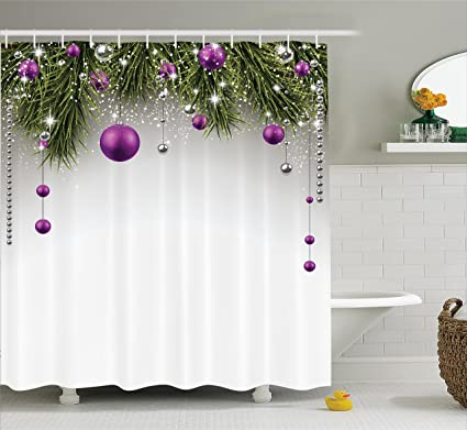 Ambesonne Christmas Shower Curtain Tree With Tinsel And Ball Present Wrap Ribbon Celebration Picture