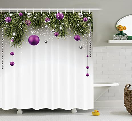 Christmas Shower Curtain Decorations By Ambesonne Tree Ornaments Bathroom Set Fabric With Hook Tinsel