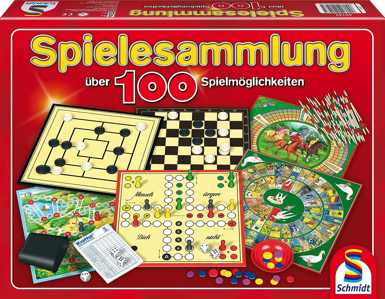 Schmidt Spiele 49147 - Raccolta di giochi in scatola Spielesammlung - über 100 Spielmöglichkeiten [lingua tedesca] Spielen / Raten