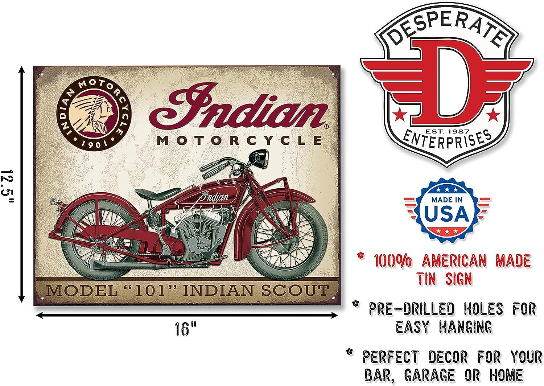 Motorcycle Parts Garage Retro Metal Sign Indian Motorcycles Est 1901