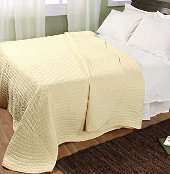 Homescapes Organic 100% Cotton Hand Quilted Bedspread - Pastel ... : yellow quilted bedspread - Adamdwight.com
