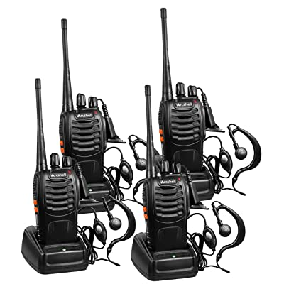 Arcshell Rechargeable Long Range Two-Way Radios with Earpiece 4 Pack UHF 400-470Mhz Walkie Talkies Li-ion Battery and Charger Included: Car Electronics [5Bkhe0805917]