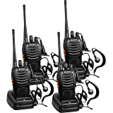 Arcshell Rechargeable Long Range Two-Way Radios with Earpiece 4 Pack UHF 400-470Mhz Walkie Talkies Li-ion Battery and Charger