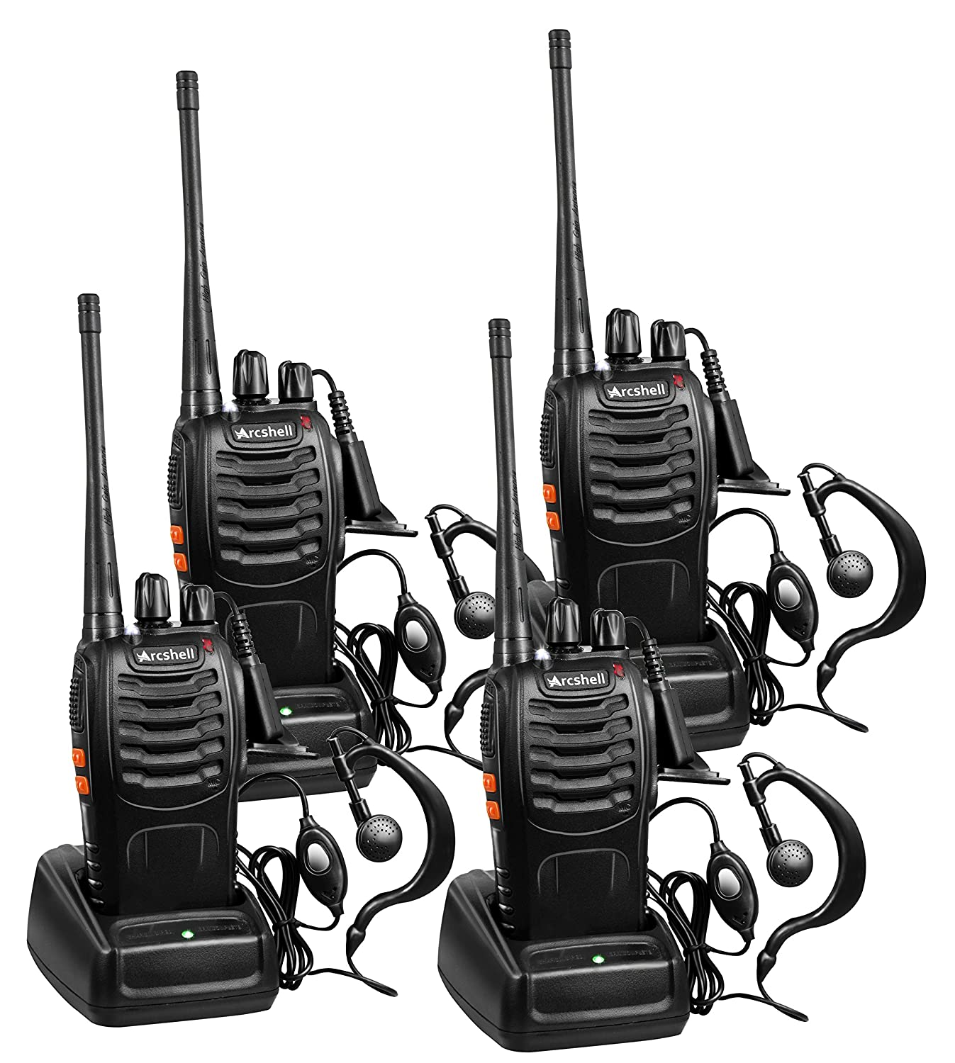 Arcshell Rechargeable Long Range Two-way Radios with Earpiece 4 Pack UHF 400-470Mhz Walkie Talkies Li-ion Battery and Charger included