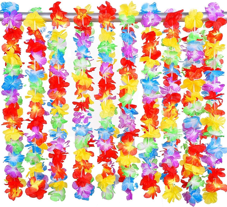 NIWWIN Leis Luau Leis Florales con Volantes Hawaianos de 20 Piezas para Vestir, Tema de Playa Decoraciones para Fiestas: Amazon.es: Juguetes y juegos