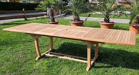 ASS Teak XXL Ausziehtisch Holztisch Gartentisch Garten Tisch L: 200250300cm Breite 100cm 2fach ausziehbar Gartenmöbel Holz sehr robust Modell: