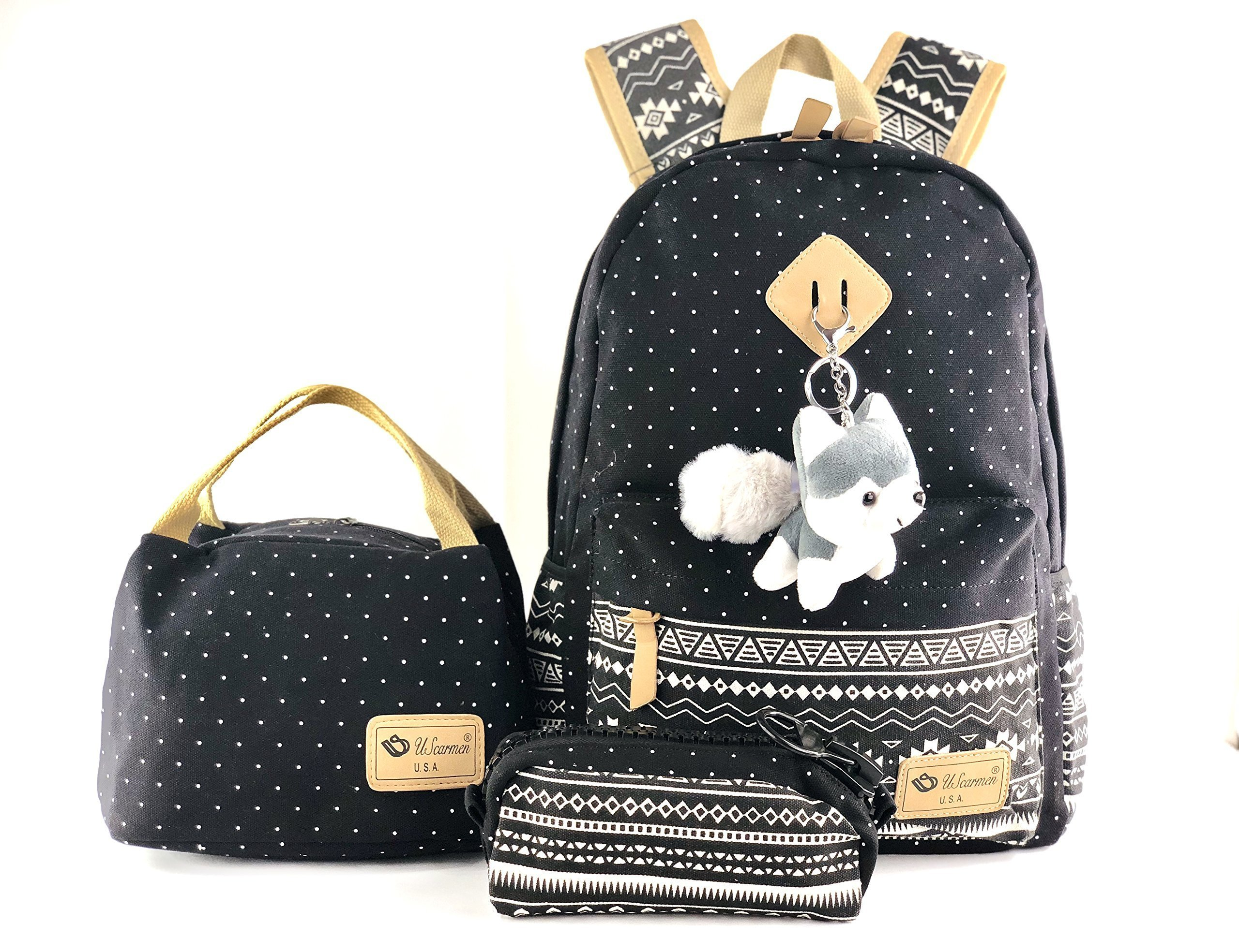 Women's boy's girl canvas backpack, lunch bag, pouch bag 3Pcs. set for school bag daypack laptop bag (Black With Toy)