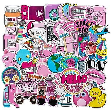 super popular 3da02 315e1 Cute Laptop Stickers for Girls[50PCS] - Pink Cartoon Sticker for Water  Bottle Hydro Flask Macbook iPhone Phone Case iPad Car Bike Bumper  Skateboard ...