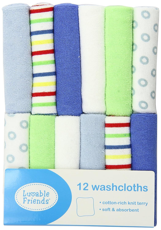 Luvable Friends 12 Pack Washcloths, Blue BabyVision 05905_Blue