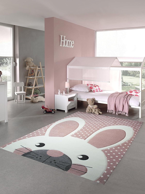 Kinderteppich Spielteppich Teppich Kinderzimmer Babyteppich Hase in Rosa Weiss Grau Größe 120x170 cm