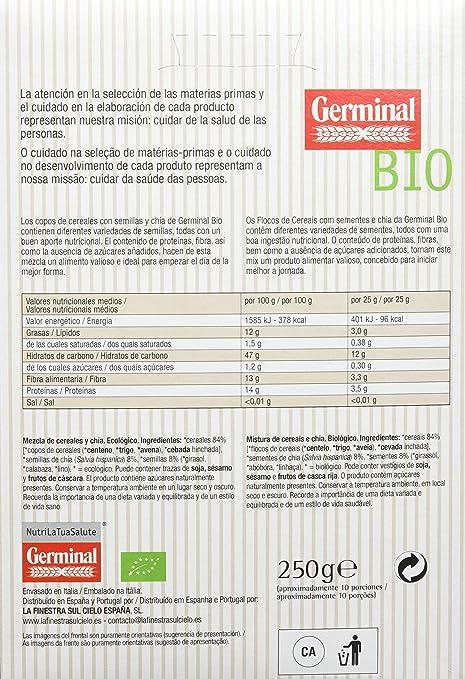 Germinal Copos de Cereales y Semillas de Chía - Paquete de 8 x 250 gr - Total: 2000 gr: Amazon.es: Alimentación y bebidas