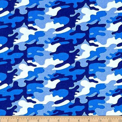 Mook Fabrics USA LP tela de franela camuflada, azul, tela por el ...