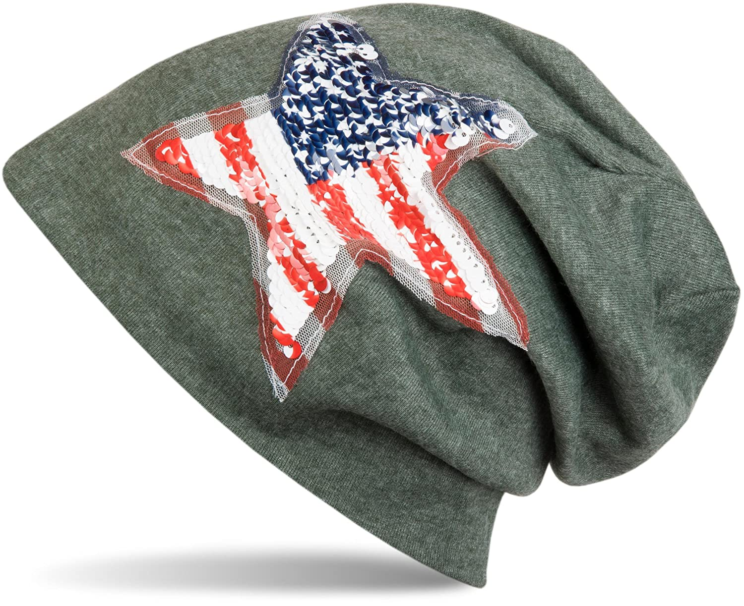 styleBREAKER Beanie Mütze mit USA Pailletten Stern Applikation, Stars and Stripes, Unisex 04024033