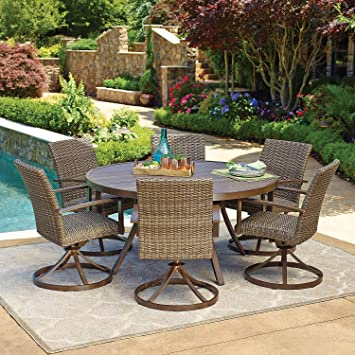 Beau 7pc All Weather Wicker Outdoor Patio Dining Set W/ 60u0026quot; Round Table