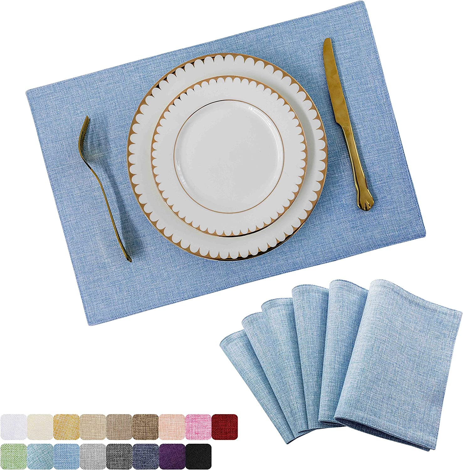 Home Brilliant Placemats Set of 6 Heat Resistant Dining Table Place Mats for Kitchen Table, Blue