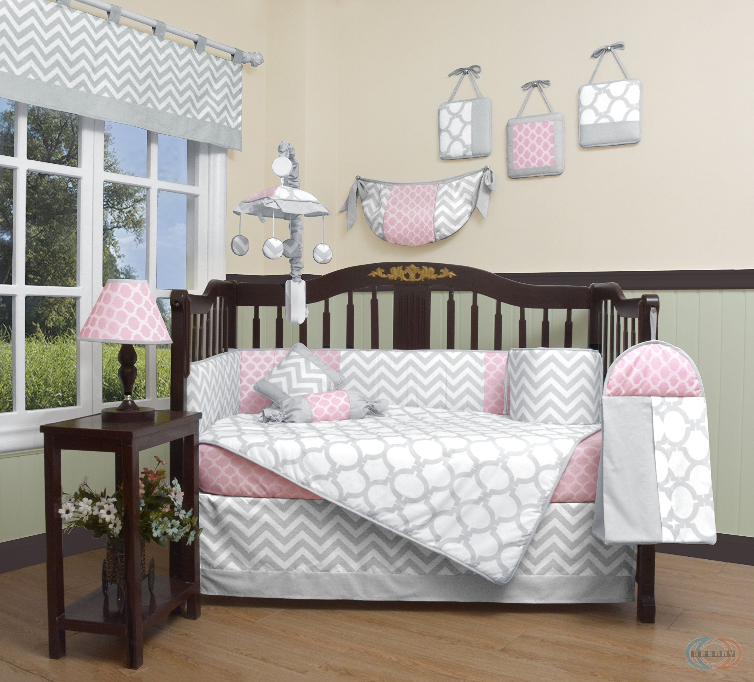 GEENNY Boutique Baby 13 Piece Crib Bedding Set, Salmon Pink/Gray Chevron by GEENNY