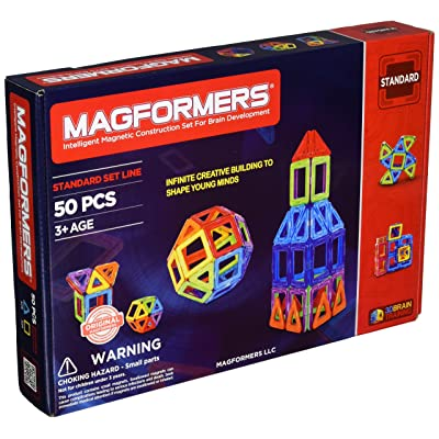 Magformers Rainbow 50 Pc Set Magnetic Building Blocks, Educational Magnetic Tiles Kit , Magnetic Construction STEM Set: Toys & Games