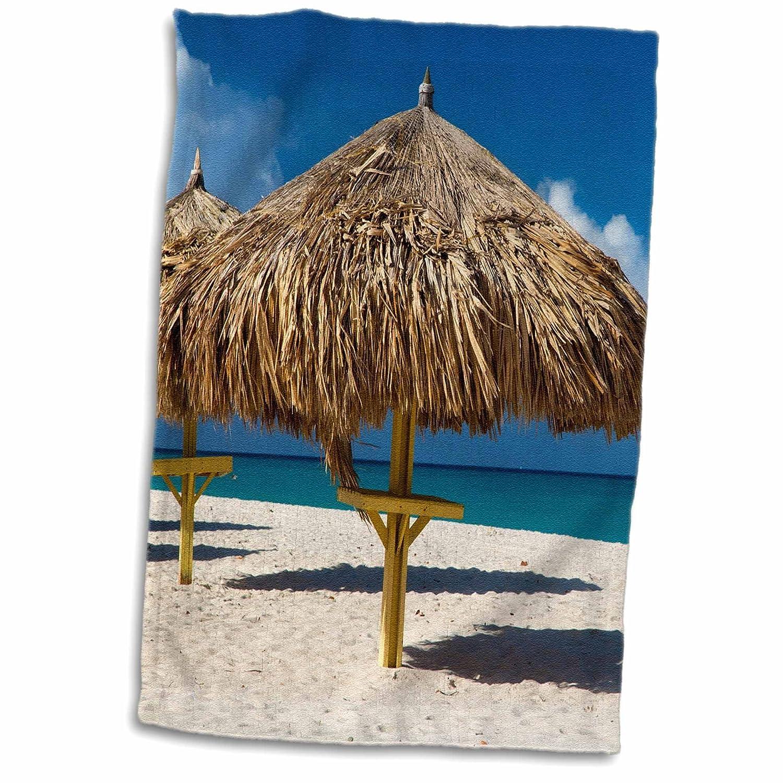 3D Rose Grass Umbrellas Along The White Sandy Eagle Beach-Aruba Hand Towel 15 x 22 Multicolor