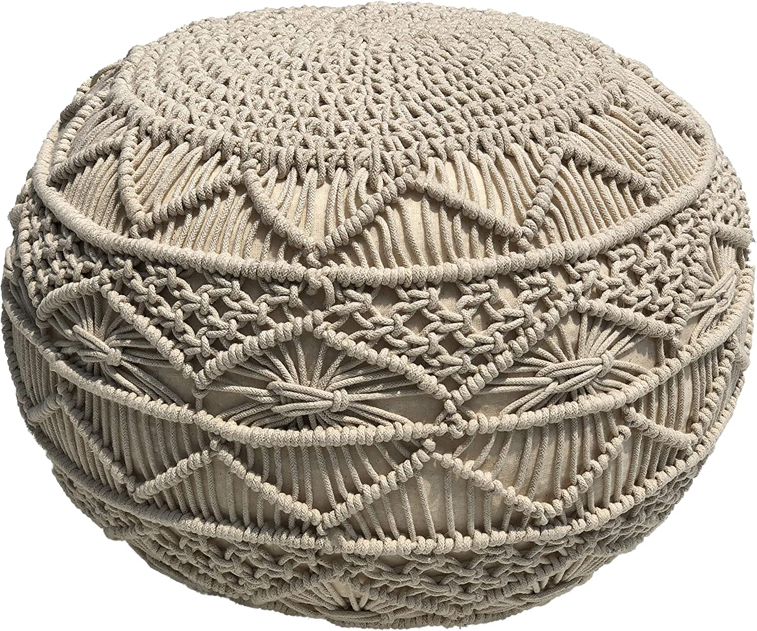 Casa Platino Truly one of a Kind Seating 20 Diameter x 14 Height 100/% Cotton Braid Cord - Floor Ottoman Brick Red Handmade /& Hand Stitched Hand Knitted Cable Style Dori Pouf