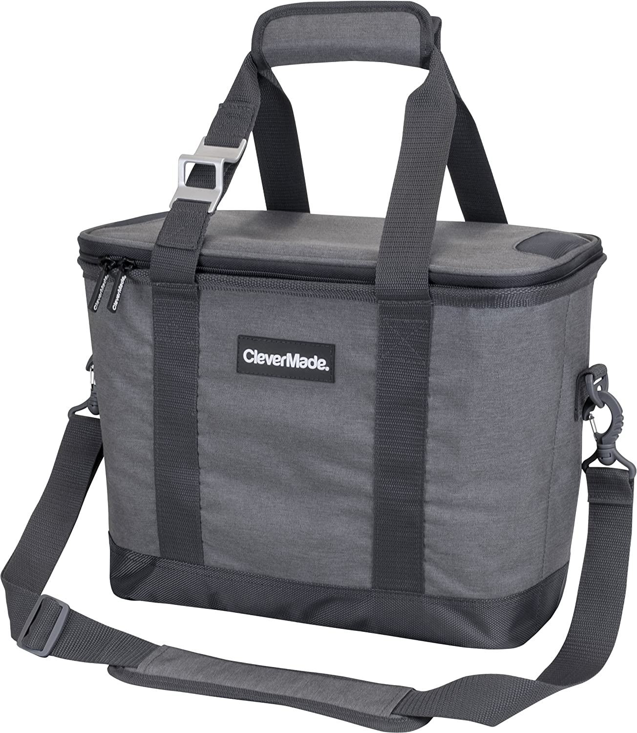 CleverMade Collapsible Cooler Bag with Shoulder Strap Insulated Leakproof 30 Can Portable Soft Beverage Tote with Bottle Opener for Camping, Lunch, Beach, Picnic Grey Charcoal