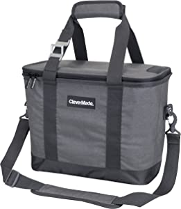 CleverMade Collapsible Cooler Bag with Shoulder Strap: Insulated Leakproof 30 Can Portable Soft Beverage Tote with Bottle Opener for Camping, Lunch, Beach, Picnic; Grey/Charcoal