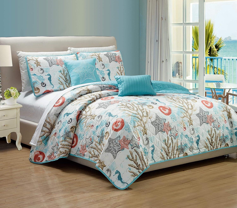 RT Designers Collection Coastal 5-Piece Quilt Set, Queen