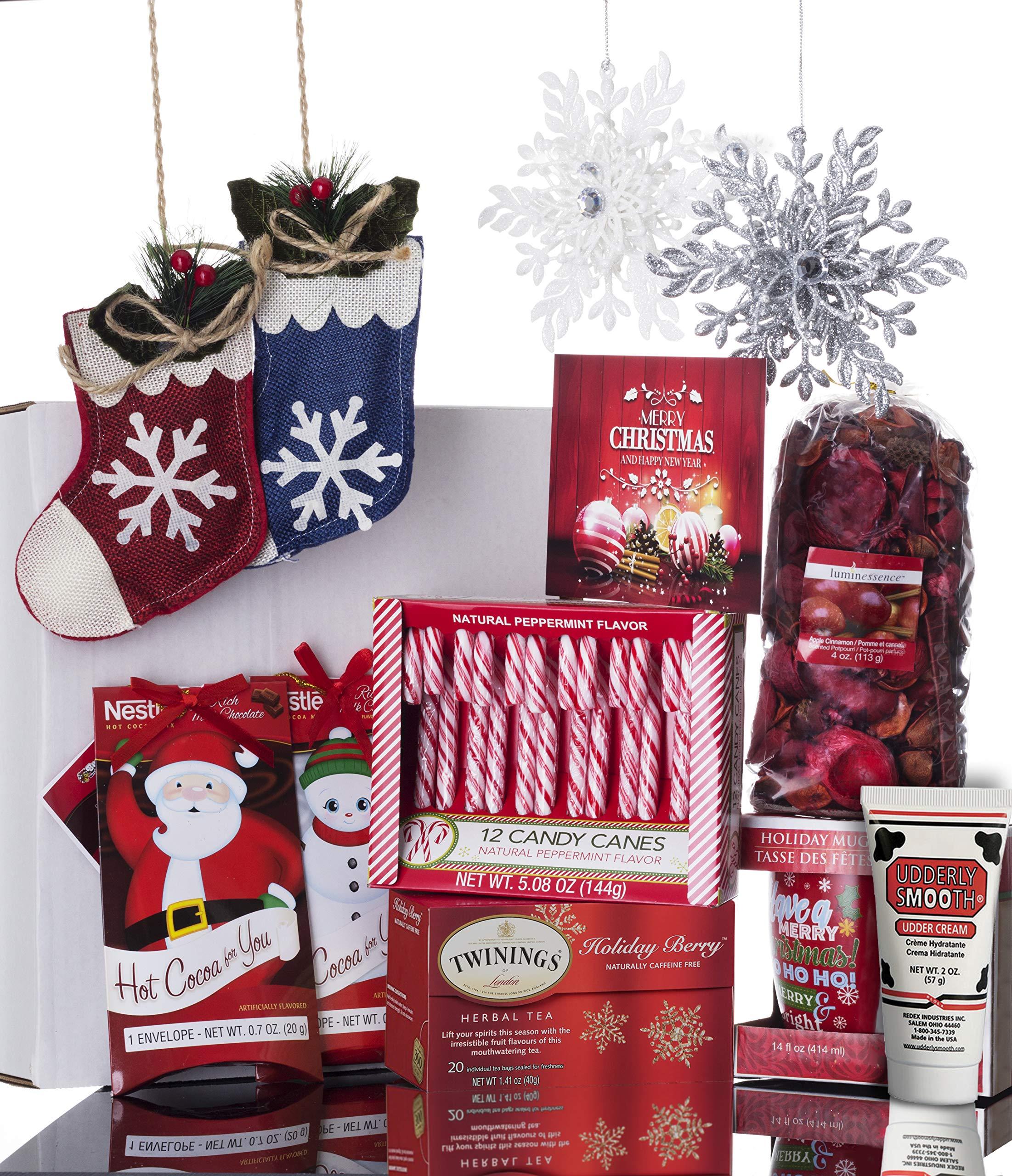 Christmas Gift Basket for Women: Ornaments, Tea, Candy Cane, Mug, Hot Chocolate, Hand Cream, Potpourri Set for Her