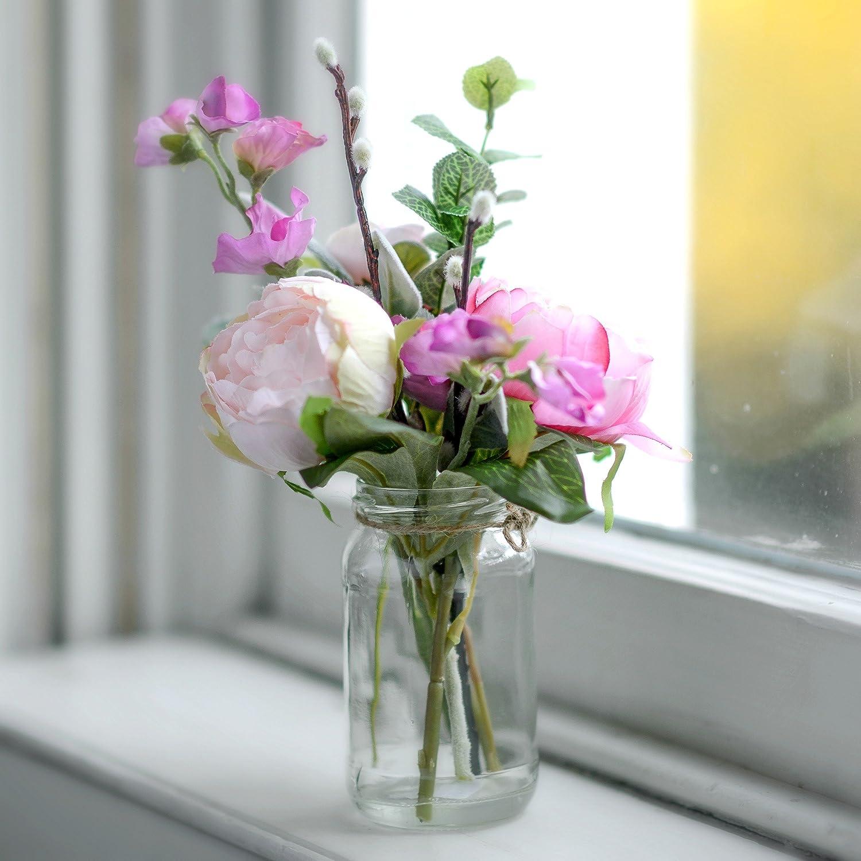 Artificial Pink Garden Peony Sweet Pea Faux Posy Vintage Jam Jar