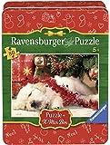 Ravensburger 07546 - Cagnolino a Natale Christmas Puzzle 80 Pezzi, Edizione Speciale, Scatola in Metallo