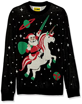 tipsy elves mens santa unicorn christmas sweater medium