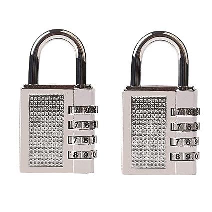 2 Piezas Candado de Seguridad con Combinación 4-Dígitos Ideal para Gimnasio del Gimnasio,