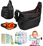 DURAGADGET Stylish Classic Compact Baby Nappy Changing Bag in Black / Orange - With Customizable Interior Dividers - Dimensions: 250 x 200 x 100 mm