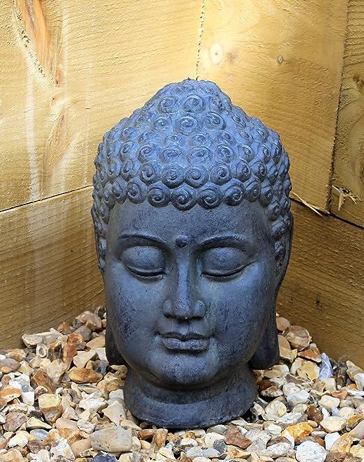 2 opinioni per Scultura ornamentale, motivo Testa di Buddha, in pietra e ceramica, per interni