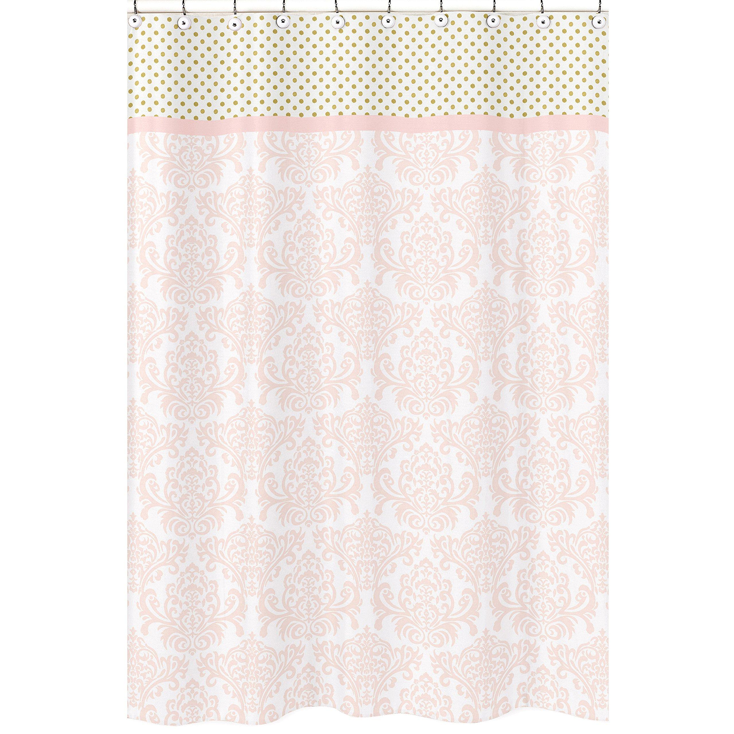 Sweet Jojo Designs Blush Pink White Damask and Gold Polka Dot Amelia Girls Kids Bathroom Fabric Bath Shower Curtain