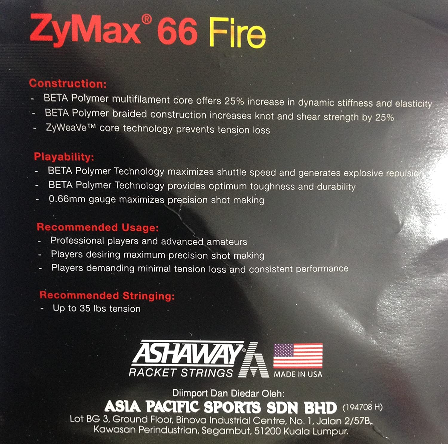 3bc9fa9f9 Buy Ashaway Badminton String Zymax 66 Fire Online at Low Prices in India -  Amazon.in