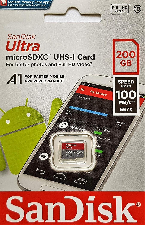 SanDisk Ultra - Tarjeta de Memoria microSDXC (200 GB, hasta ...