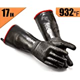 RAPICCA Grill Gloves Heat Resistant-Smoker, BBQ, Cooking Barbecue Gloves, for Handling Heat Food Right on Your Fryer, Grill or Oven. Waterproof, Fireproof, Oil Resistant Neoprene Coating (17-Inch 8/M)