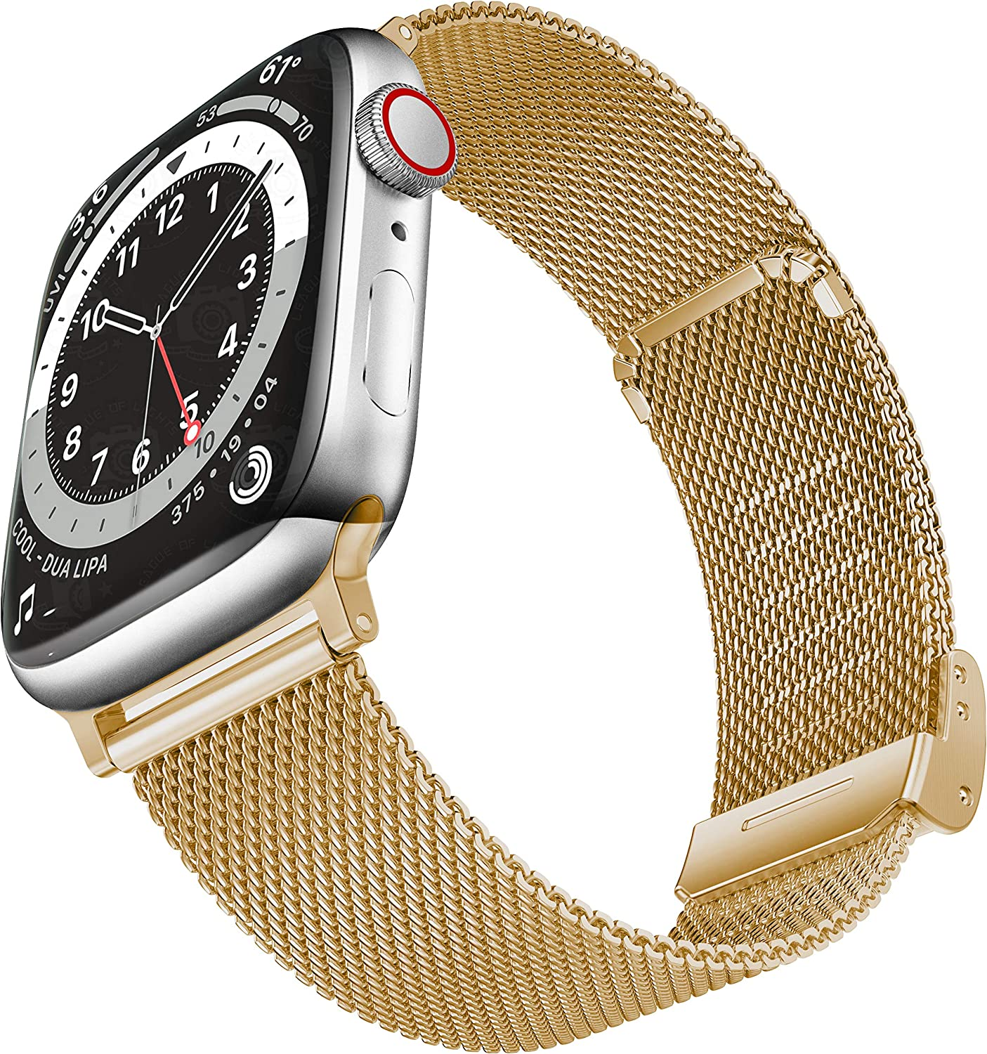 Geoumy Bands Compatible with Apple Watch Band 38mm 40mm, Stainless Steel Milanese Mesh Loop Replacement Men Women Strap for iWatch Series SE/6/5/4/3/2/1,Light Gold
