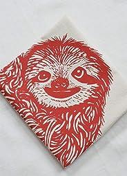 Tea Towel - Sloth Design in Red - Organic Flour Sack Towel - Hand Printed