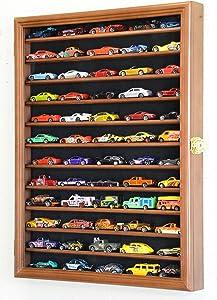 Hot Wheels Matchbox 1/64 Scale Diecast Model Display Case Cabinet Wall Rack w/98% UV Protection -Walnut