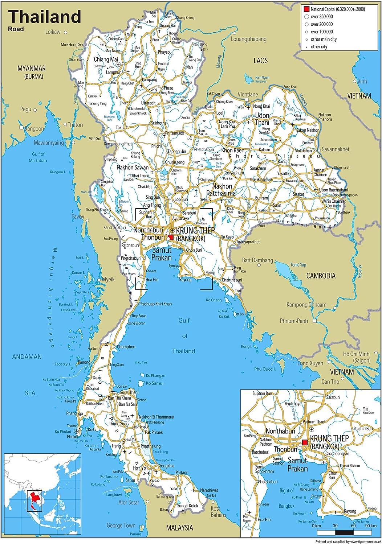 Thailand Road Map/ A0 Size 84.1 x 118.9 cm /Papier laminiert GA
