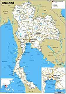 Thailand Physical Map Paper Laminated A1 Size 594 x 841 cm