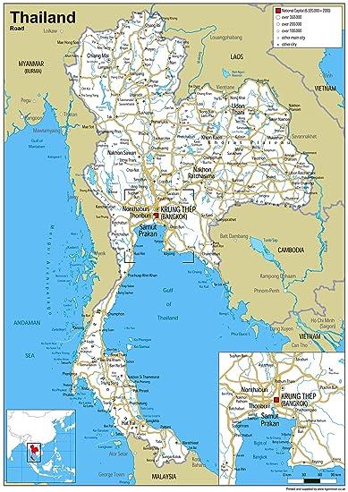 Thailand Road Map – Papier laminiert [GA] A0 Size 84.1 x 118.9 cm ...