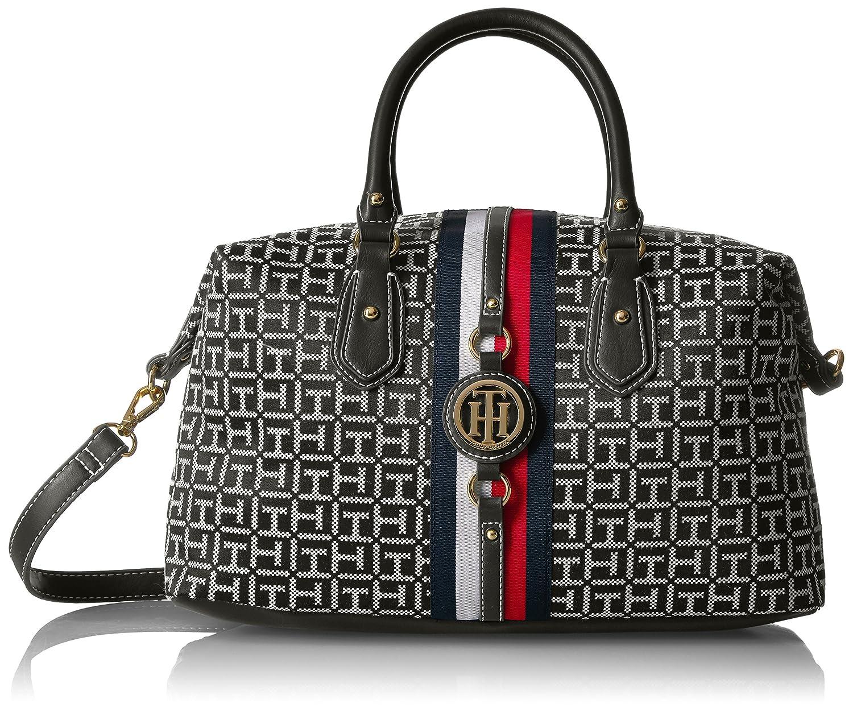 5a28ad1d1f Tommy Hilfiger Handbag Jaden Satchel, Black/White: Amazon.ca: Clothing &  Accessories