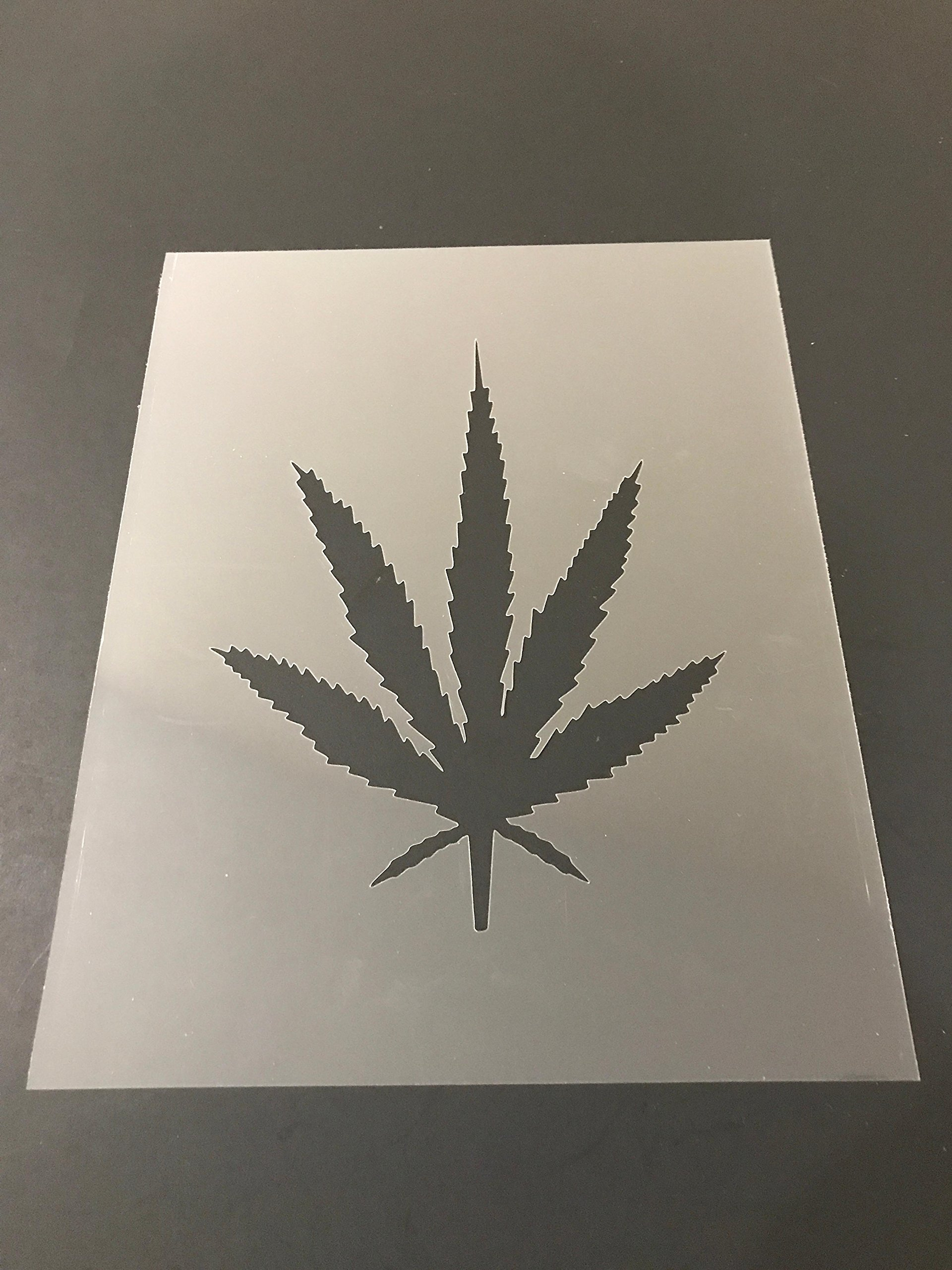 Pot leaf Marijuana Weed Cannabis Stencil #4 Reusable 10 mil Thick 7in x 9in sheet by Everyday Funny Finds