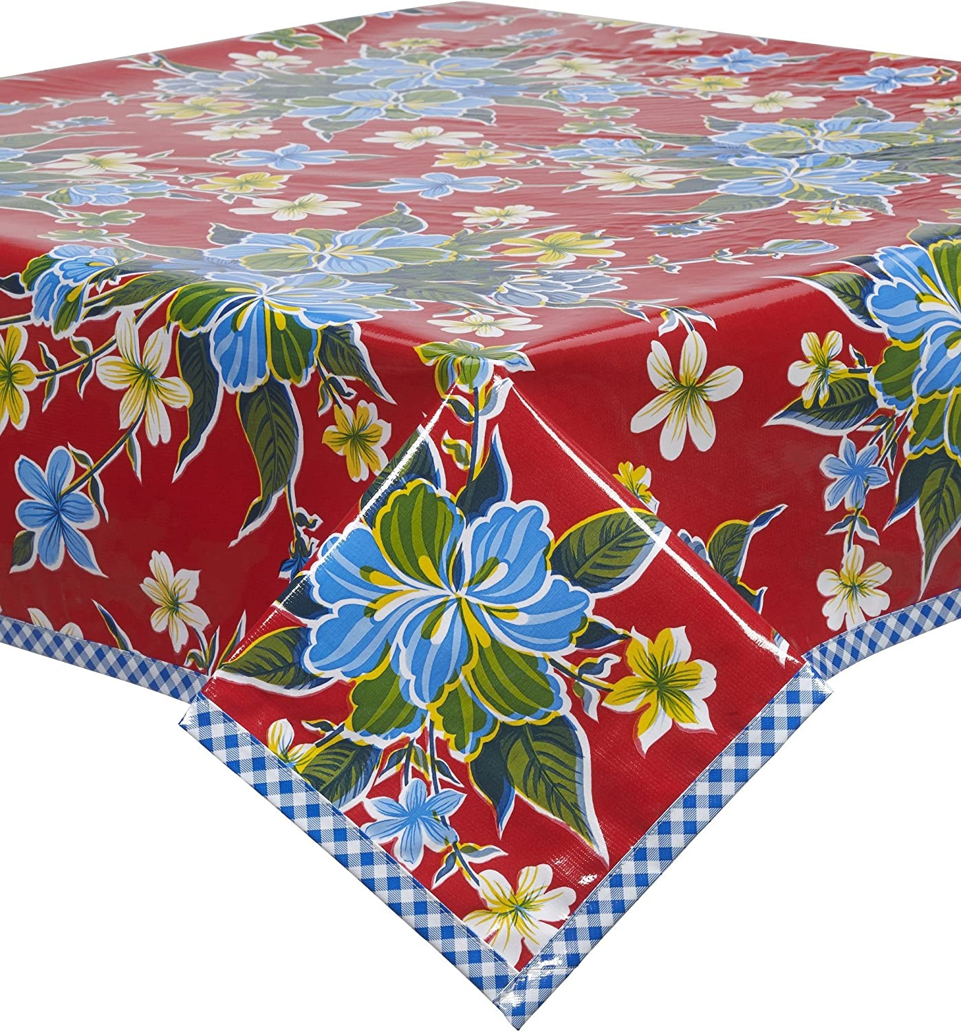 The Aloha---Reversible oilcloth placemats in an hibiscus print and gingham