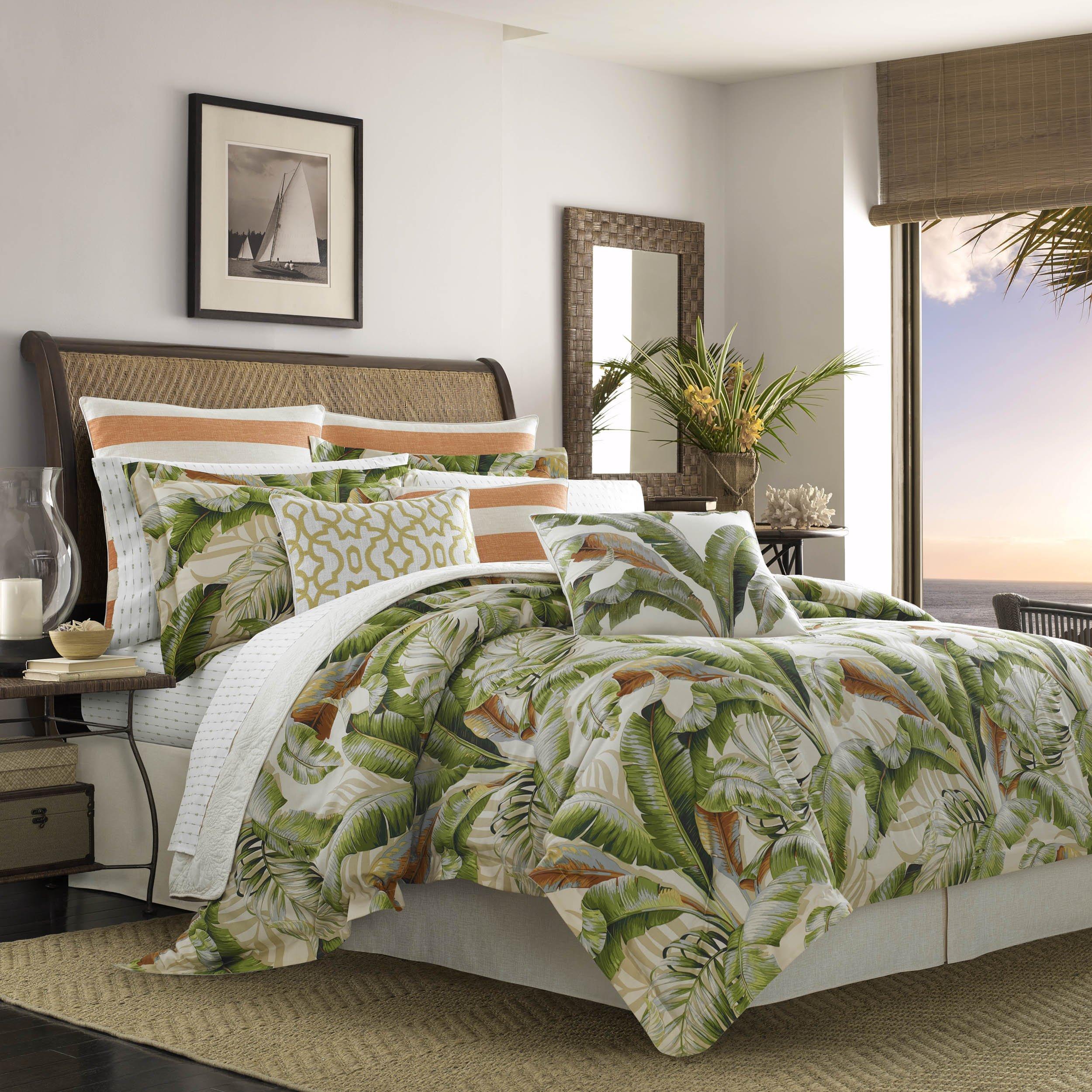 Tommy Bahama Palmiers Comforter Set, California King, Medium Green