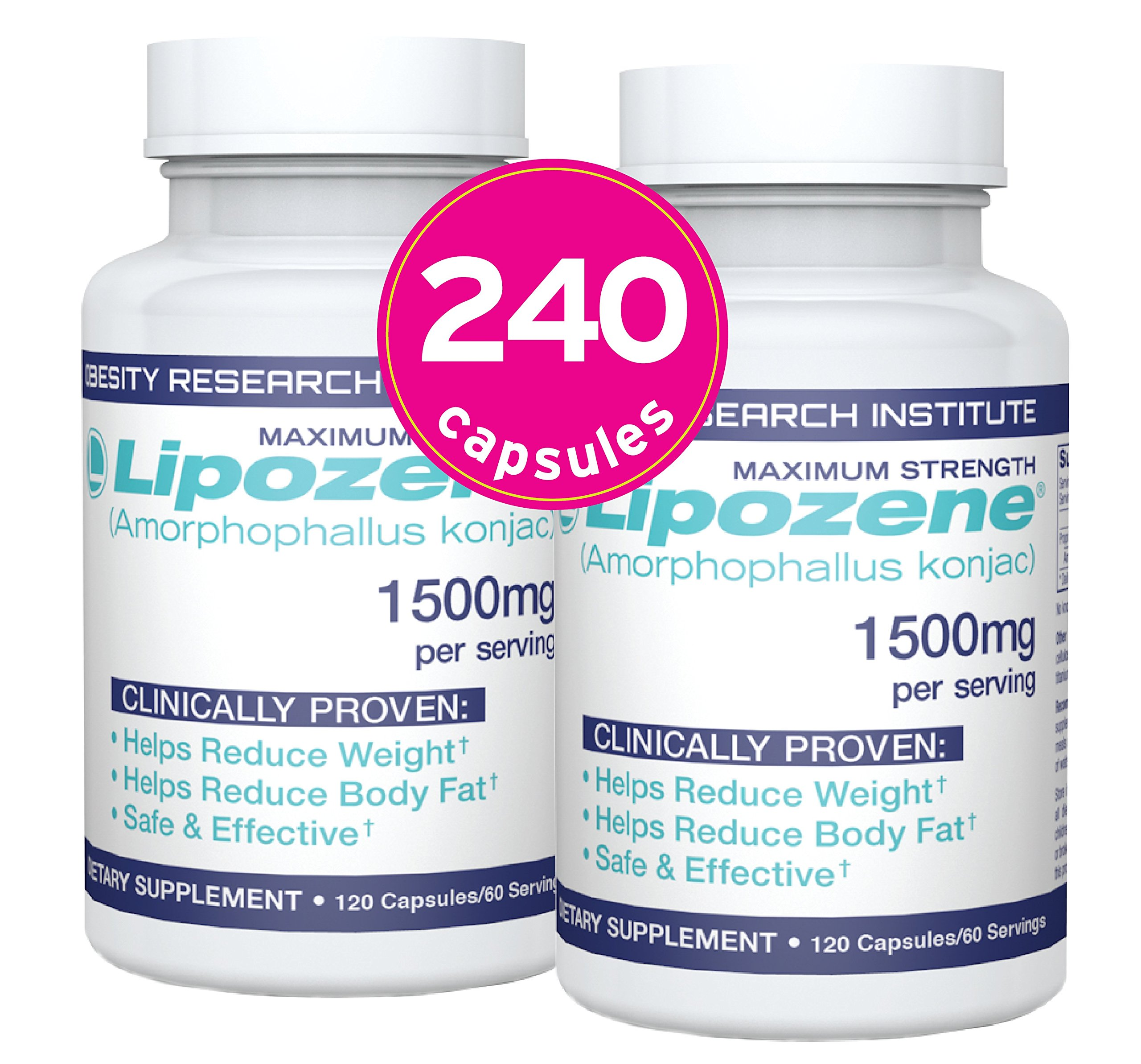 Lipozene Diet Pills - 2 Mega Bottles, 240 Capsules Total - Weight Loss Supplement - Appetite Suppressant and Control - No Stimulants No Jitters