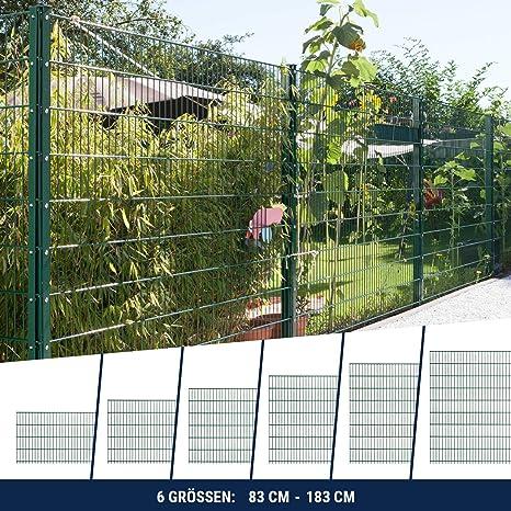Doppelstabmattenzaun Gittermatten Komplett-Set Grün Höhe 123cm Länge 12,5m